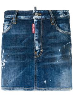 состаренная мини-юбка с брызгами краски  Dsquared2