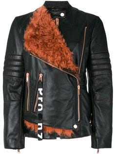 кожаная мотоциклетная куртка с поясом и панелью из овчины Proenza Schouler