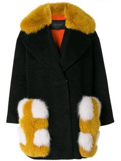 пальто с отделкой из меха лисы  Blancha