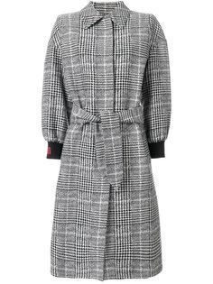 клетчатое пальто на пуговицах Fendi