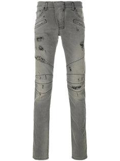 джинсы кроя слим с потертой отделкой Pierre Balmain