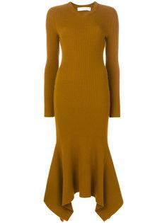 ребристое платье-свитер с драпированным подолом Victoria Beckham