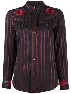 рубашка в полоску с вышитой розой  Adam Selman
