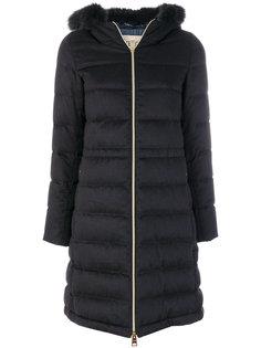 дутое пальто с отделкой мехом лисы  Herno