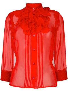 приталенная полупрозрачная рубашка с оборкой  Givenchy