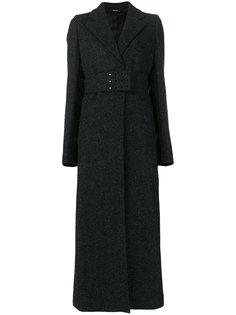 длинное пальто с поясом и люверсами  Maison Margiela