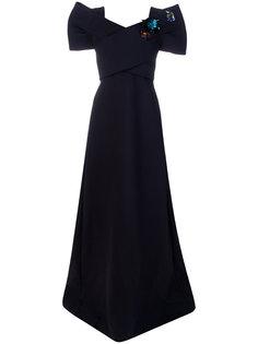 длинное платье с буффами на рукавах Delpozo