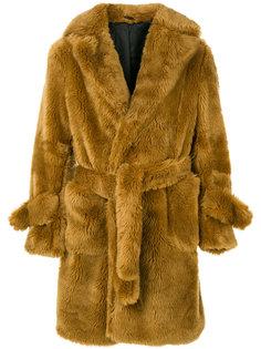 меховое пальто с поясом Band Of Outsiders