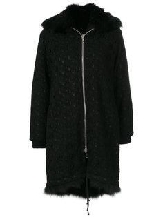 пальто на молнии с меховым воротником  Giambattista Valli
