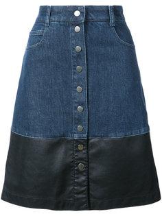 джинсовая юбка с кожаной окантовкой  Stella McCartney