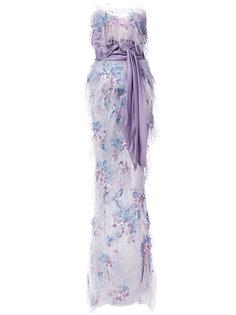 декорированное длинное платье без бретелей Marchesa