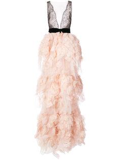 тюлевое длинное платье  Marchesa