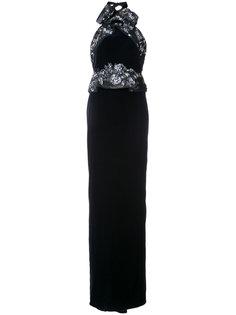 бархатное длинное платье с вырезом-халтер Marchesa