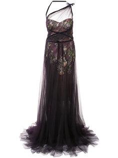 сетчатое платье с вышивкой  Marchesa