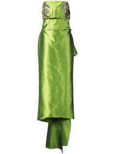 длинное платье без бретелей с драпировкой Marchesa
