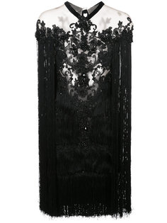 beaded fringe mini dress Marchesa