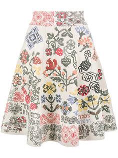 юбка с графическим цветочным узором интарсия  Alexander McQueen