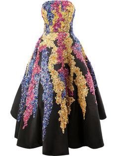 вечернее платье с отделкой пайетками  Oscar de la Renta