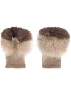 перчатки с лисьим мехом Agnona
