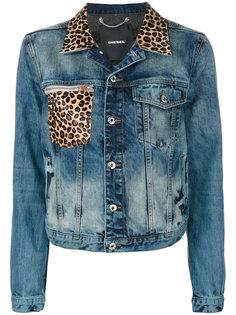 джинсовая куртка с леопардовым принтом  Diesel
