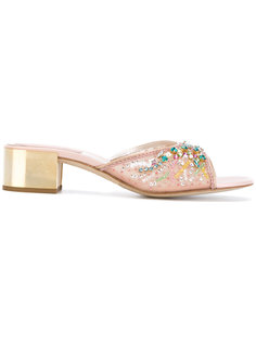 босоножки с украшением из поделочных камней на блочном каблуке  René Caovilla