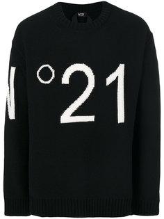 свитер с вышитым логотипом Nº21