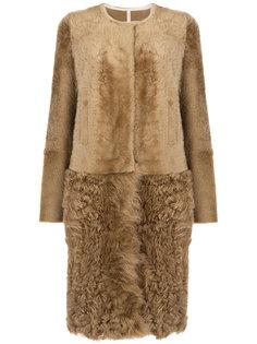 пальто из меха ягненка и козы Yves Salomon