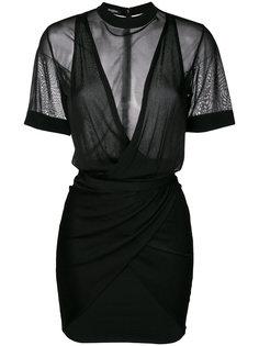 платье-мини с драпировками Balmain
