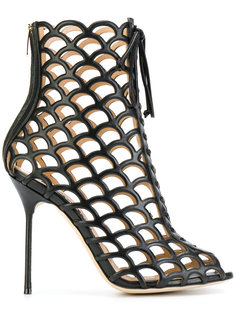 сетчатые ботинки с молнией на каблуке Sergio Rossi