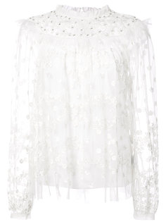 sheer floral embroidered blouse Needle & Thread