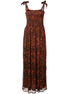 длинное платье с принтом из роз Ganni
