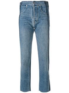 укороченные состаренные джинсы  Helmut Lang