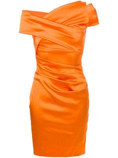 приталенное платье со сборкой Talbot Runhof