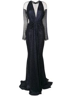 платье с длинными рукавами и драпировкой Talbot Runhof