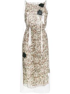 платье миди с полупрозрачным слоем и цветочным принтом  Calvin Klein 205W39nyc
