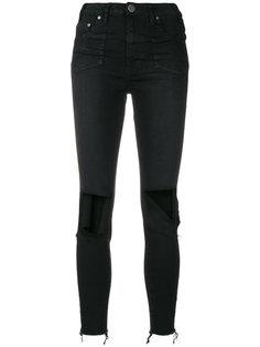 джинсы скинни с эффектом потертости One Teaspoon