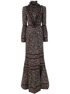 расклешенное платье с высоким воротом и цветочным принтом  Dsquared2