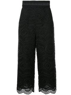 укороченные брюки с вышивкой Zimmermann