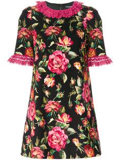 платье с цветочным принтом и оборкой  Dolce & Gabbana