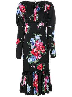 платье с объемными рукавами и принтом роз  Dolce & Gabbana