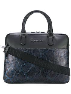 сумка для ноутбука с эффектом змеиной кожи Emporio Armani