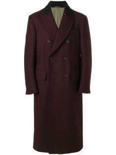 саржевое двубортное пальто  Joseph