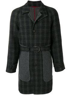 пальто в клетку с поясом Salvatore Ferragamo