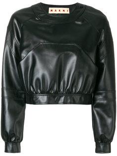 укороченная кожаная куртка Marni