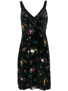 бархатное платье с цветочным узором  R13