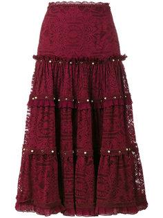ярусная кружевная юбка миди  Jonathan Simkhai