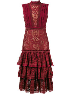 кружевное платье с ярусными оборками  Jonathan Simkhai