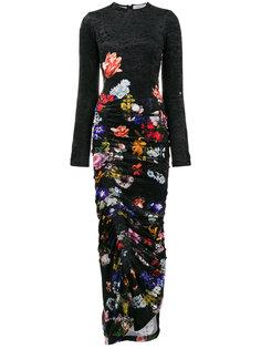 бархатное платье макси с цветочным принтом  Preen By Thornton Bregazzi