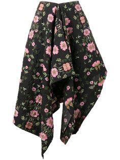 асимметричная юбка с драпировкой и цветочным принтом  Preen By Thornton Bregazzi