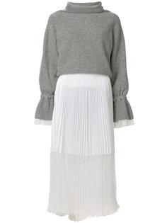 платье-джемпер с плиссированной юбкой Sacai